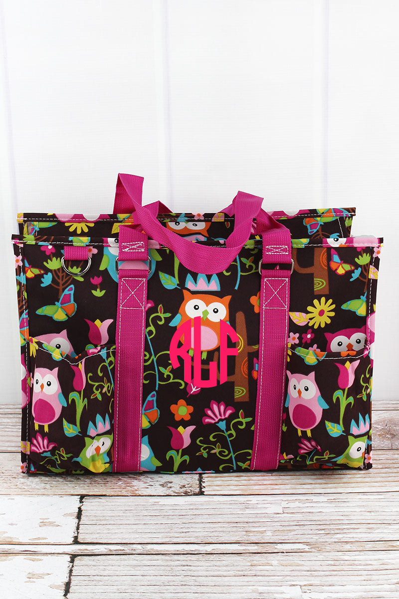 NGIL Owl Give a Hoot Utility Tote with Hot Pink Trim