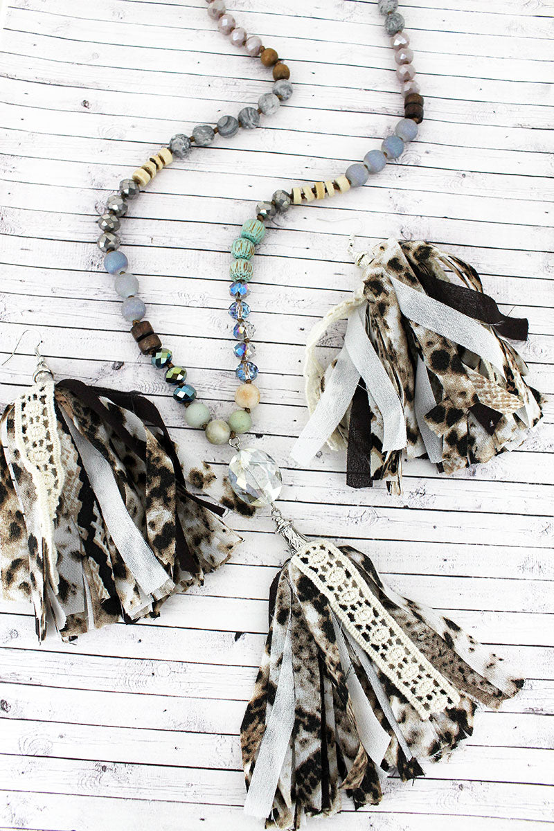 Crystal Gem and Snakeskin Fabric Tassel Pendant Beaded Necklace and Earring Set
