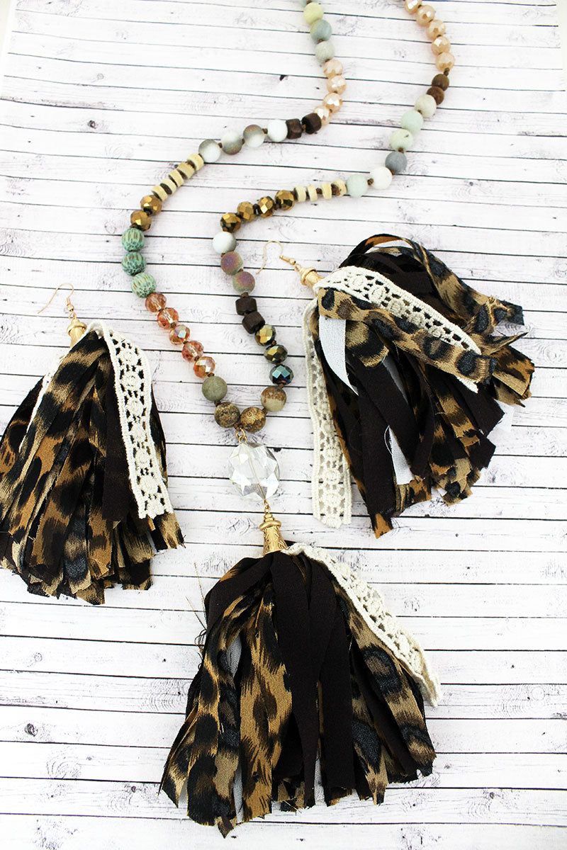 Crystal Gem and Leopard Fabric Tassel Pendant Beaded Necklace and Earring Set