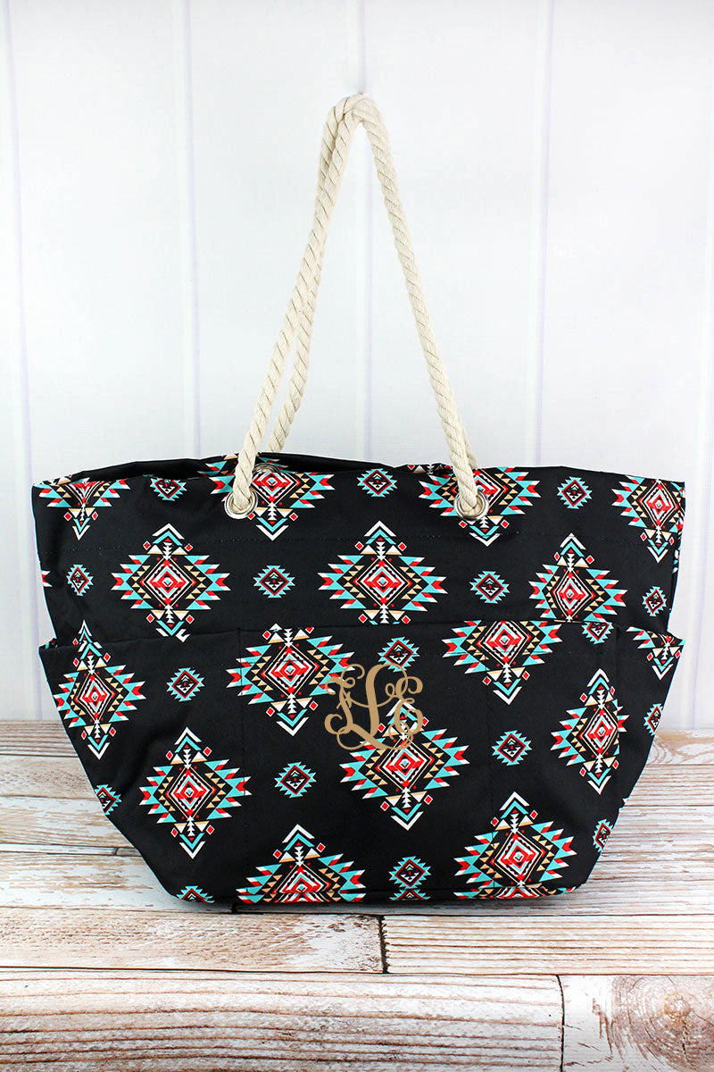 NGIL Desert Diamond Rope Handle Beach Tote