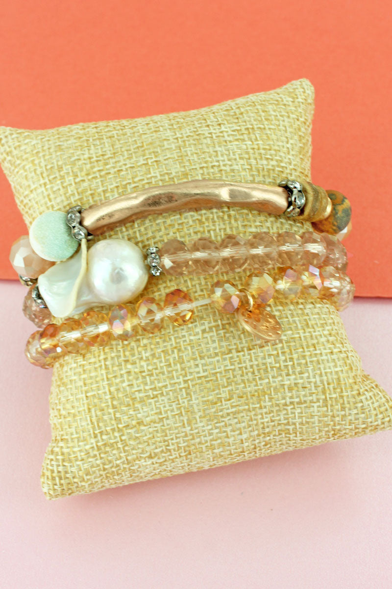 Goldtone Bar and Shell Beaded Bracelet Set