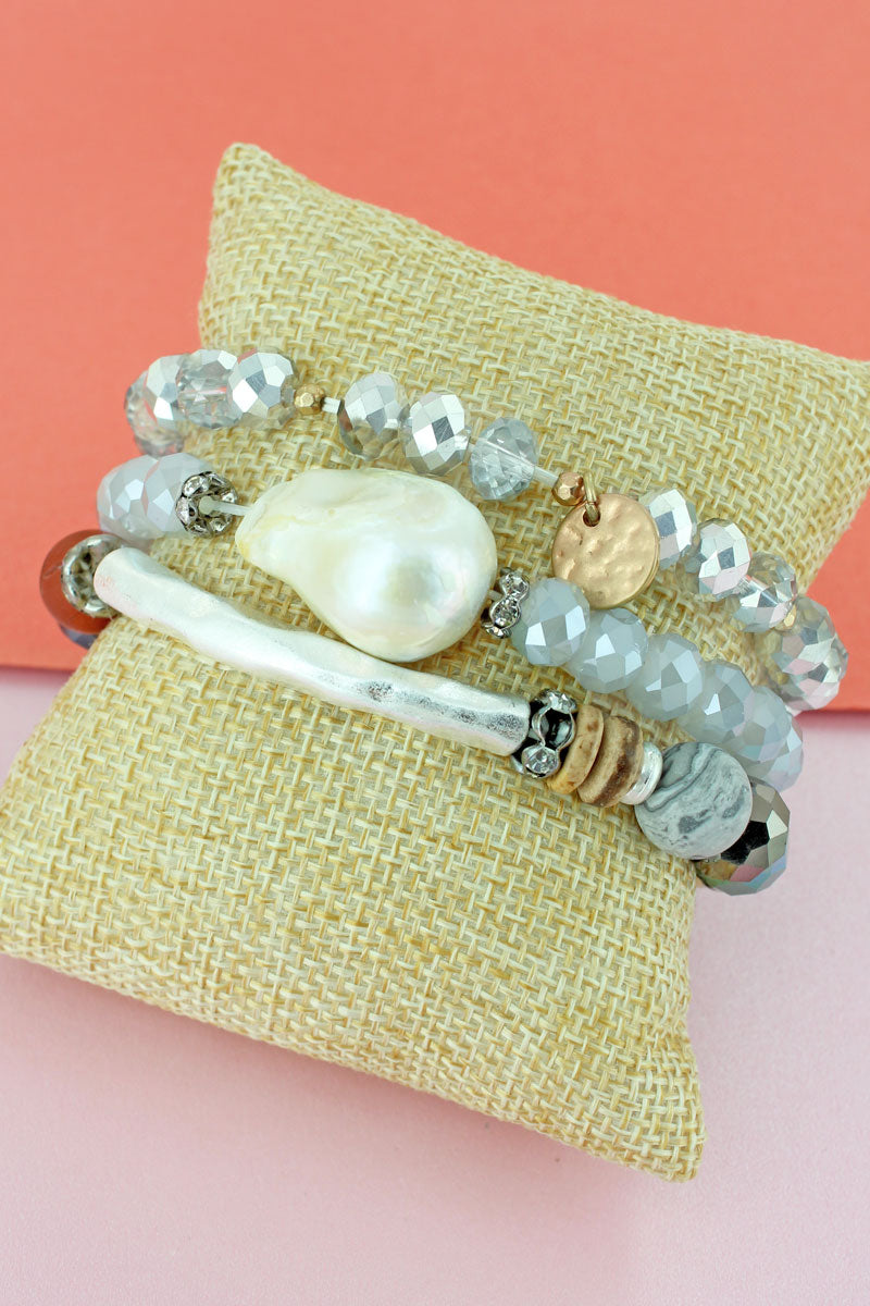 Silvertone Bar and Shell Beaded Bracelet Set