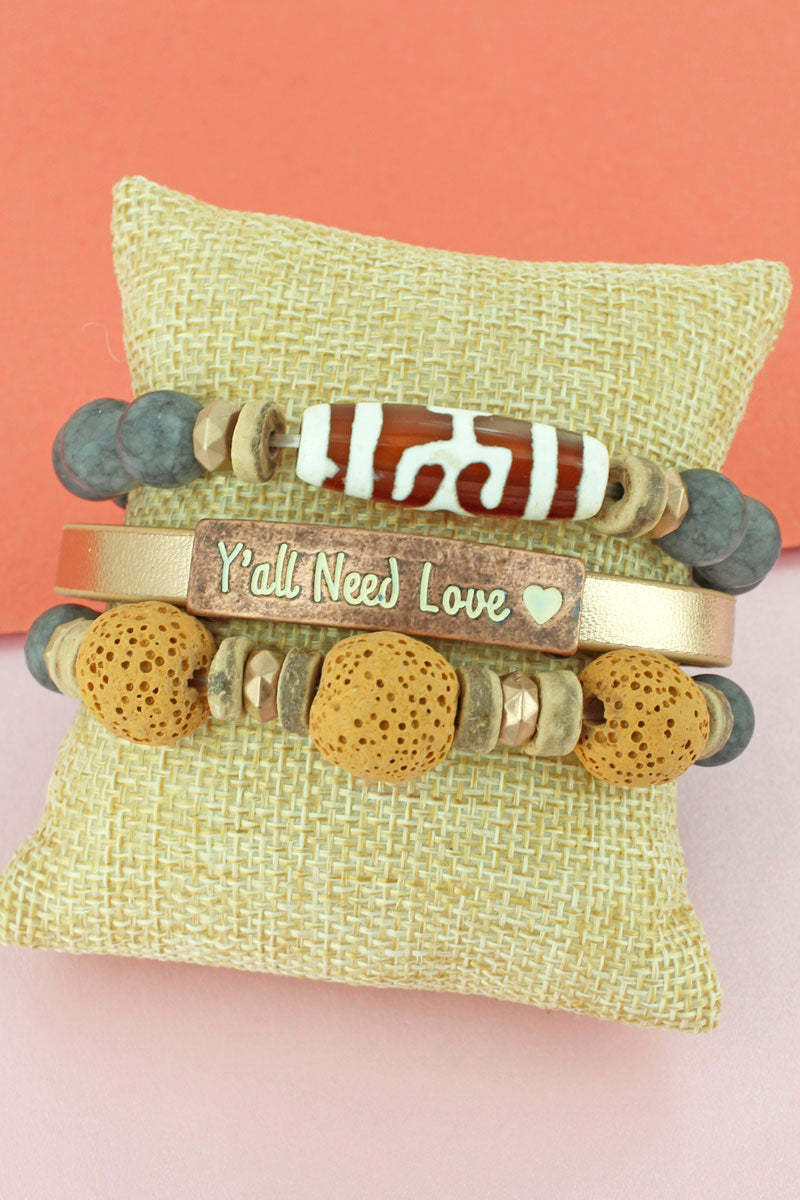 Coppertone 'Y'all Need Love' Faux Leather Bead Medley Bracelet Set