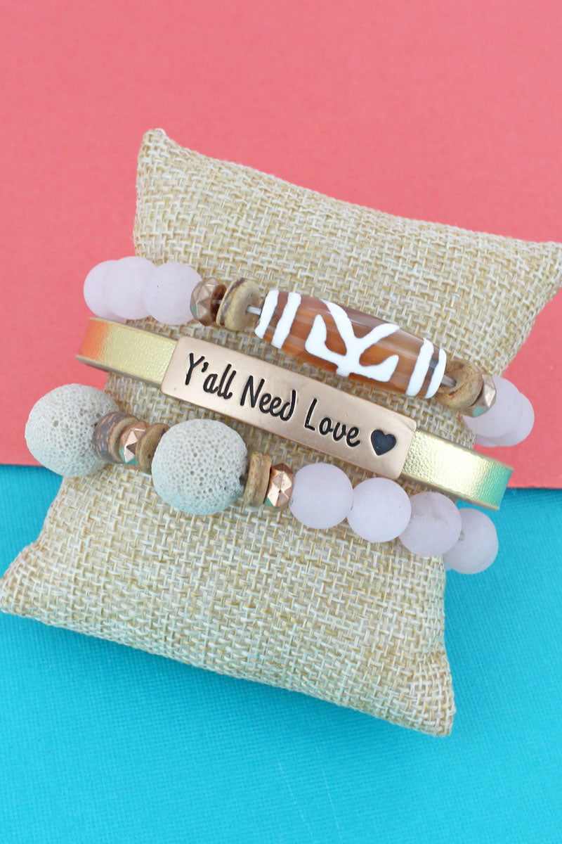 Goldtone 'Y'all Need Love' Faux Leather Bead Medley Bracelet Set