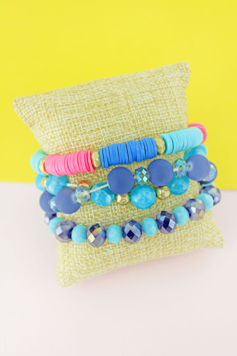 Blue Multi Faceted and Vinyl Disk Beaded Bracelet Set