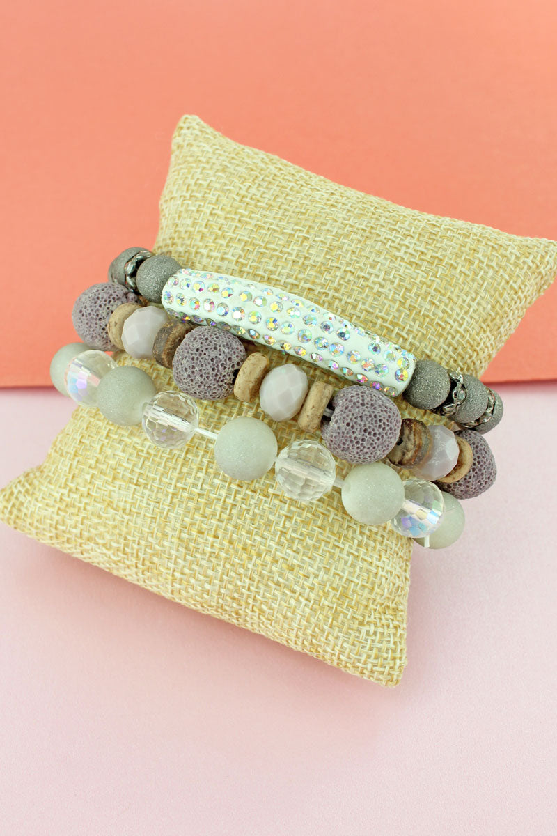 Iridescent Crystal Bar White Mixed Bead Bracelet Set