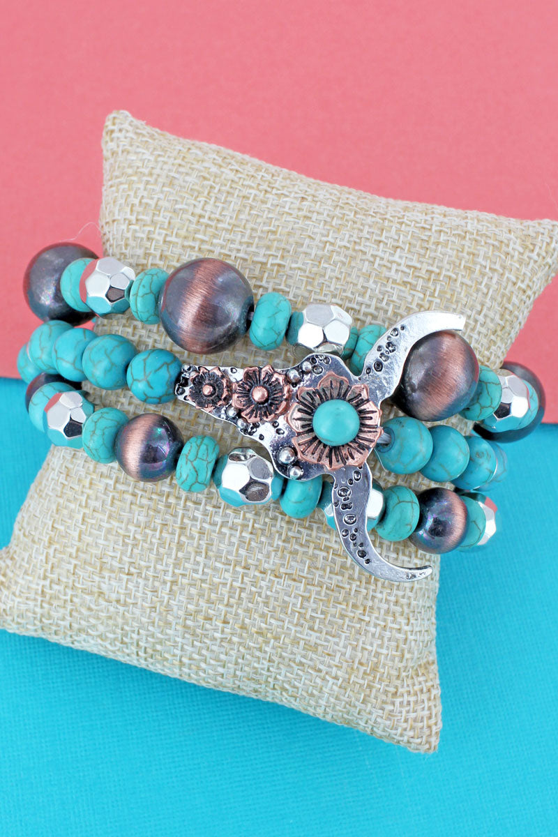 Two-Tone Steer Turquoise and Navajo Pearl Beaded Bracelet Set
