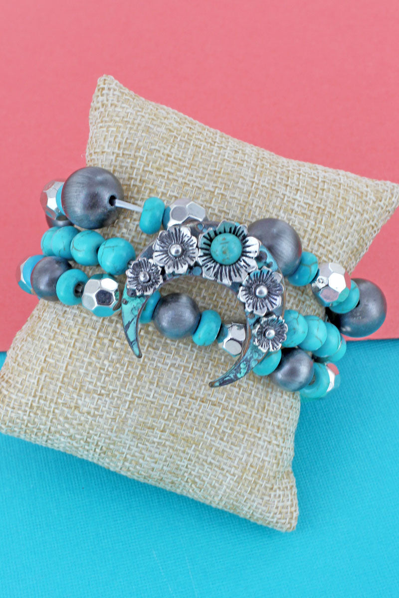 Two-Tone Floral Naja Turquoise and Navajo Pearl Beaded Bracelet Set