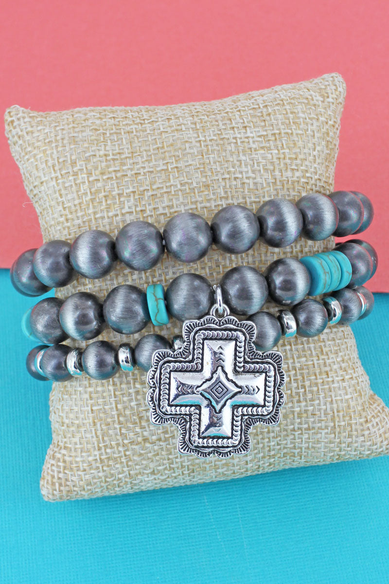 Silvertone Square Cross Turquoise and Navajo Pearl Beaded Bracelet Set