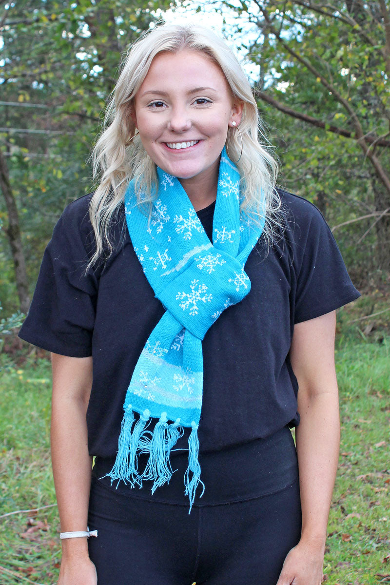Snowflake Flashing Holiday Knit Scarf