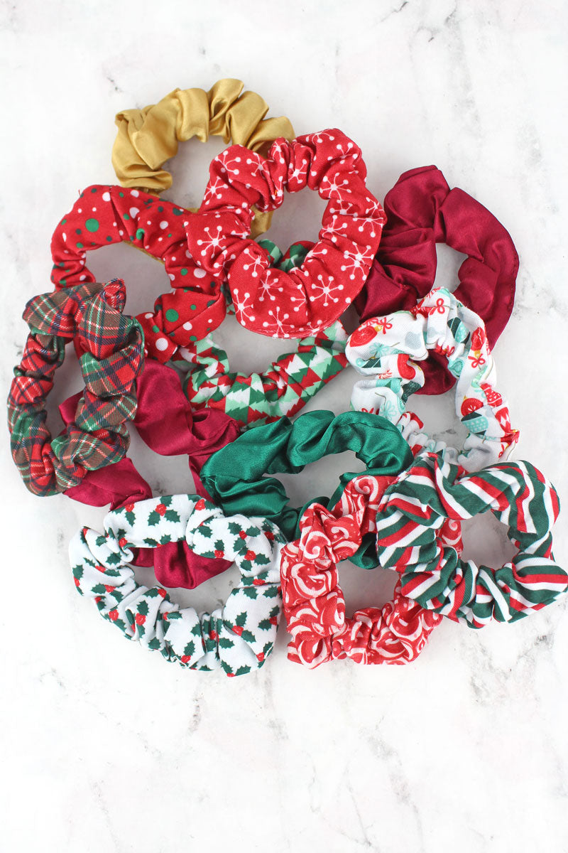 One 3 Piece Set of Holiday Scrunchies - SHIPS ASSORTED