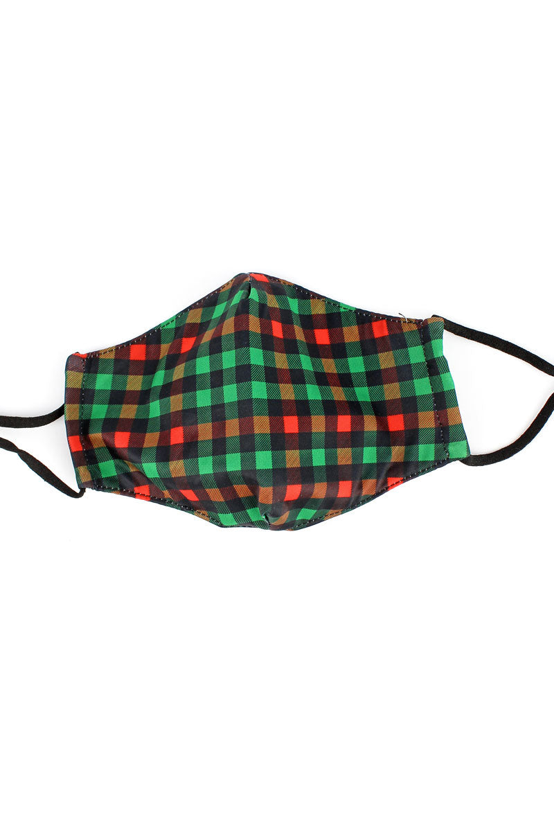 Kid's Christmas Check Two-Layer Fashion Face Mask with Filter Pocket
