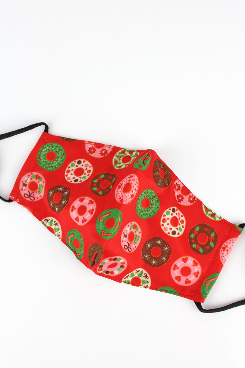 Christmas Donuts Two-Layer Fashion Face Mask with Filter Pocket