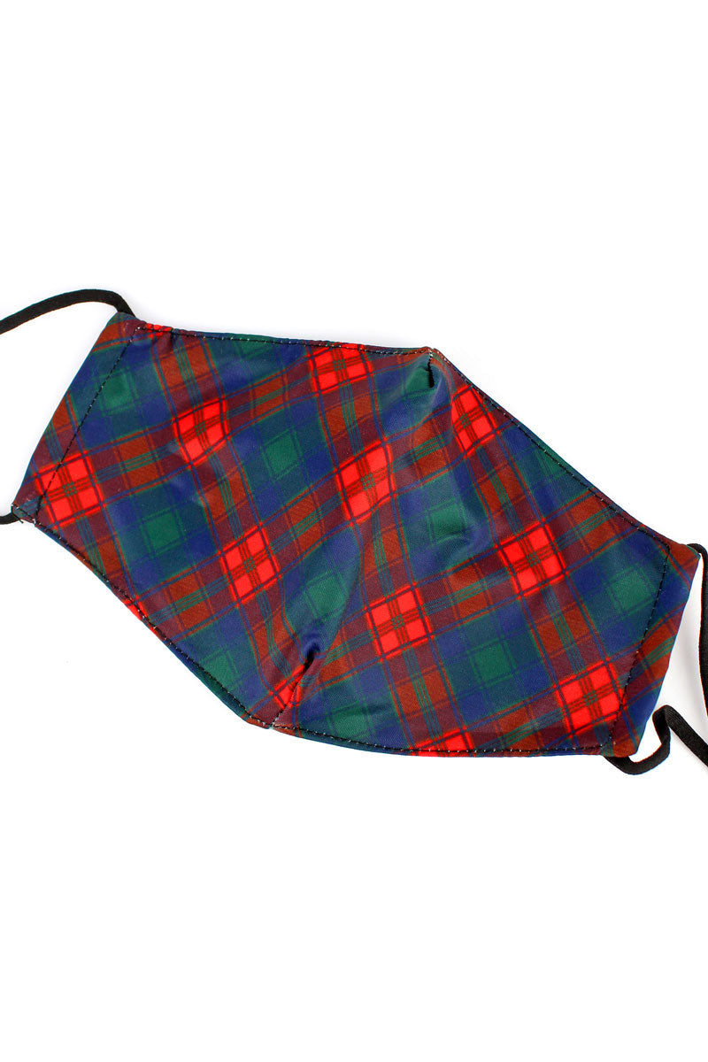 Christmas Plaid Two-Layer Fashion Face Mask with Filter Pocket