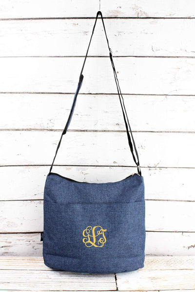 NGIL Denim Blue Crosshatch Multi-Pocket Crossbody Tote