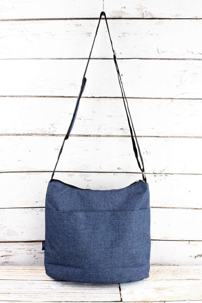 SALE! NGIL Denim Blue Crosshatch Multi-Pocket Crossbody Tote