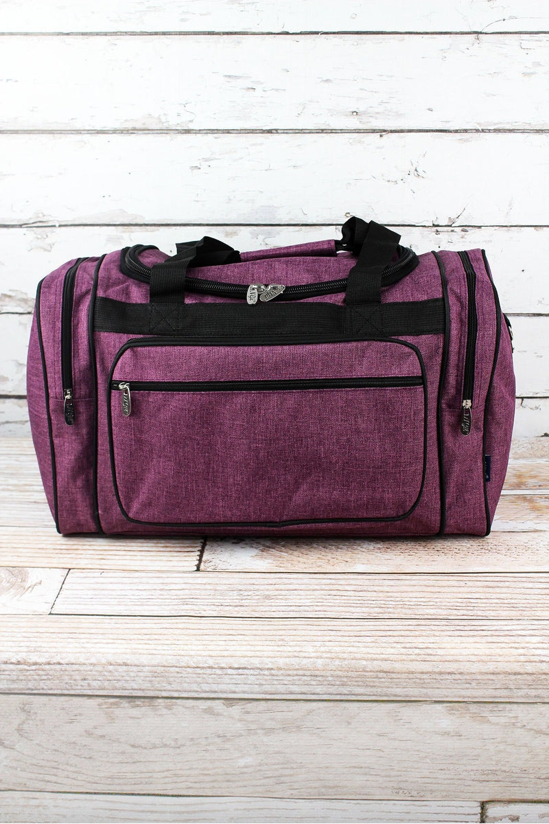 NGIL Black Cherry Crosshatch Duffle Bag with Black Trim 20""