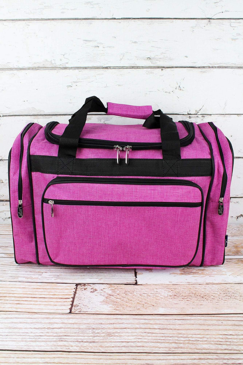 NGIL Fuchsia Rose Crosshatch Duffle Bag with Black Trim 20""