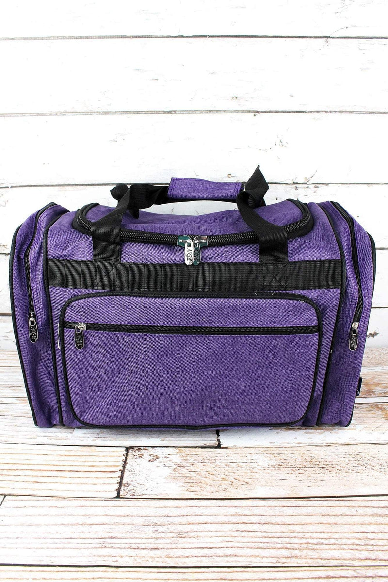 Amethyst Purple Crosshatch Duffle Bag with Black Trim 20""