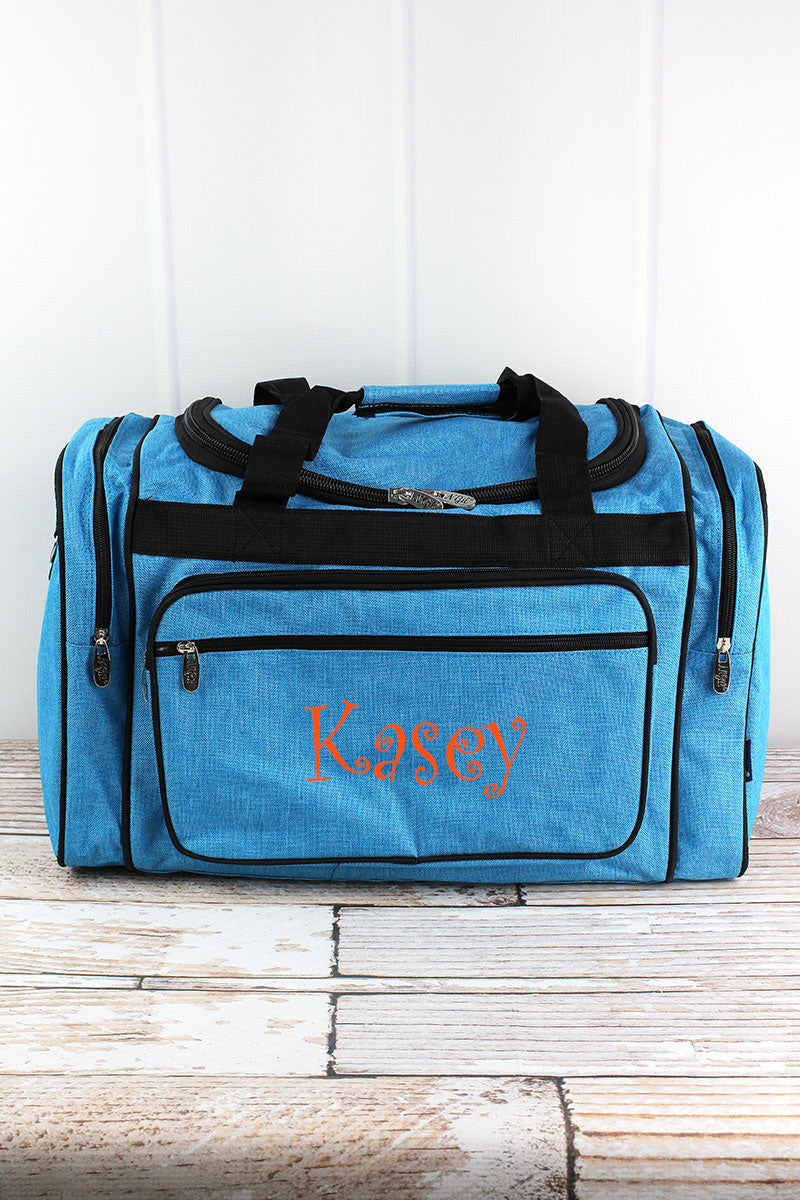 NGIL Turquoise Sea Blue Crosshatch Duffle Bag with Gray Trim 20""