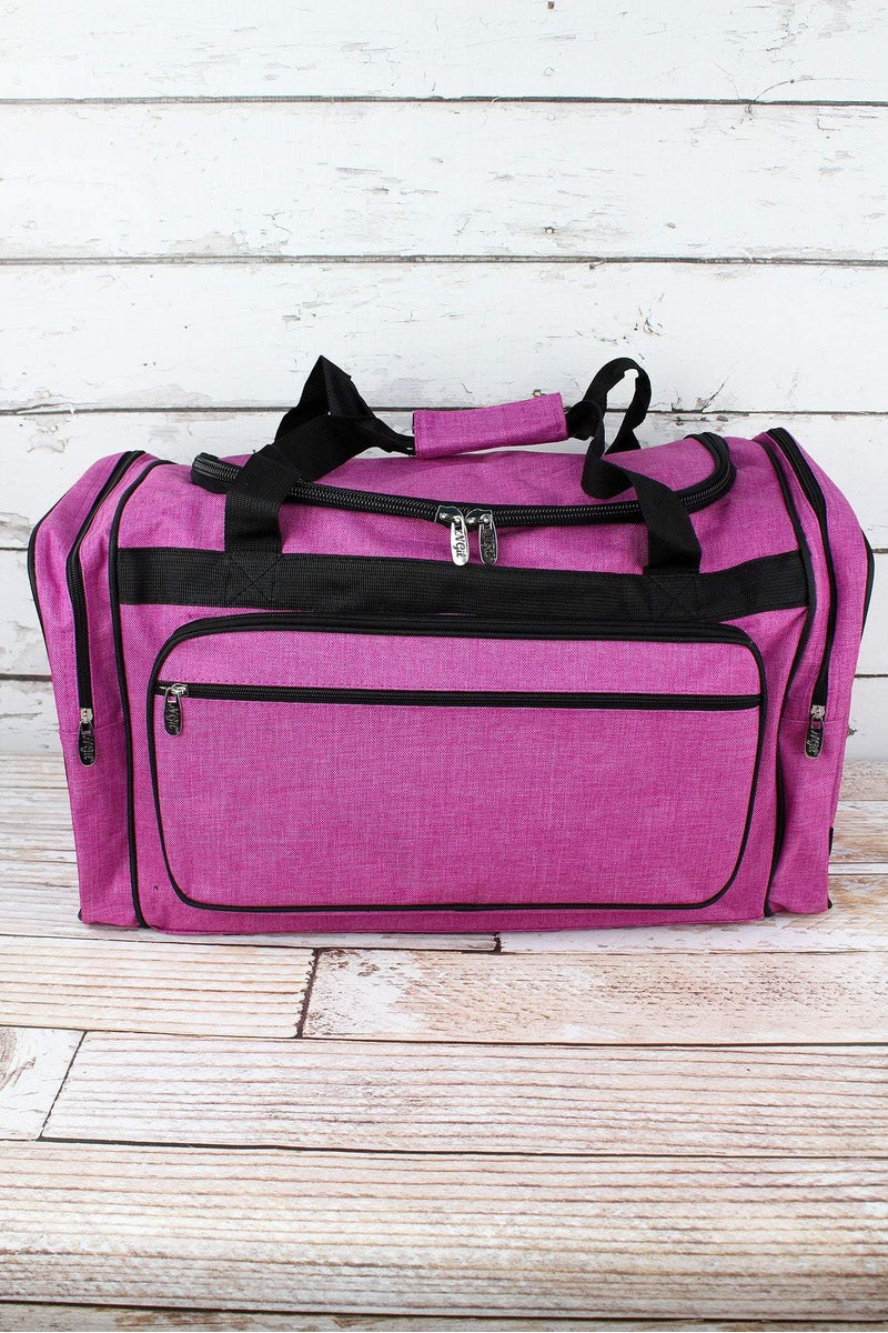 Fuchsia Rose Crosshatch Duffle Bag with Black Trim 23""