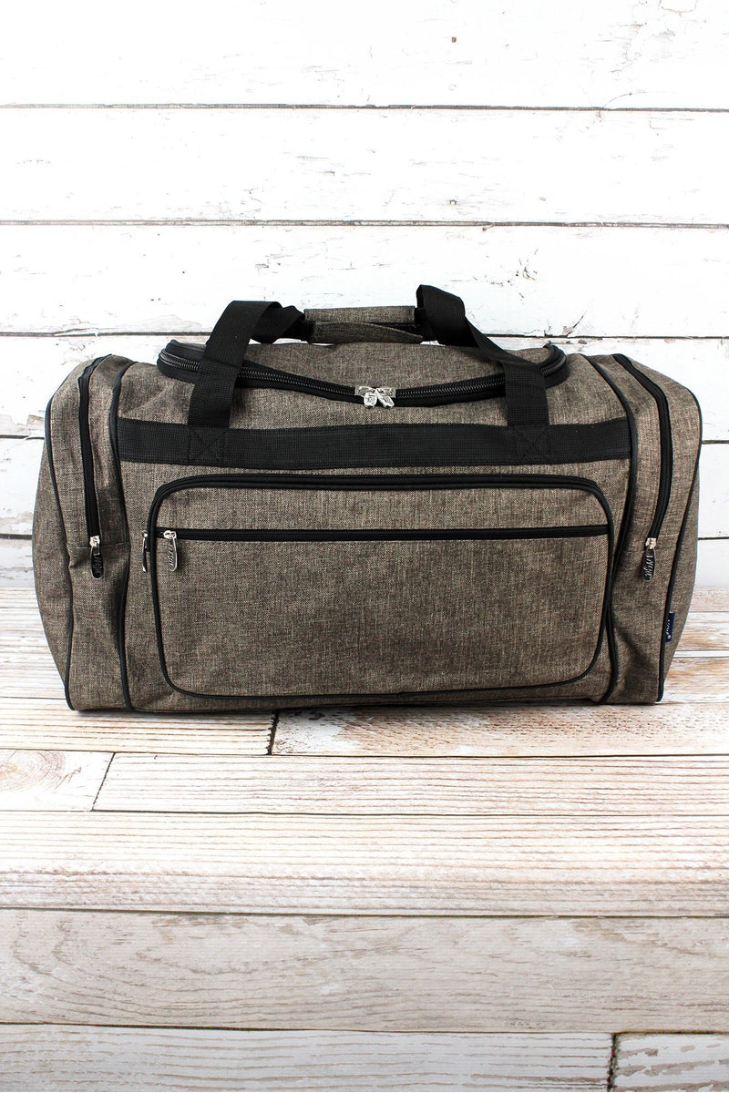 NGIL Brown Khaki Crosshatch Duffle Bag with Black Trim 23""