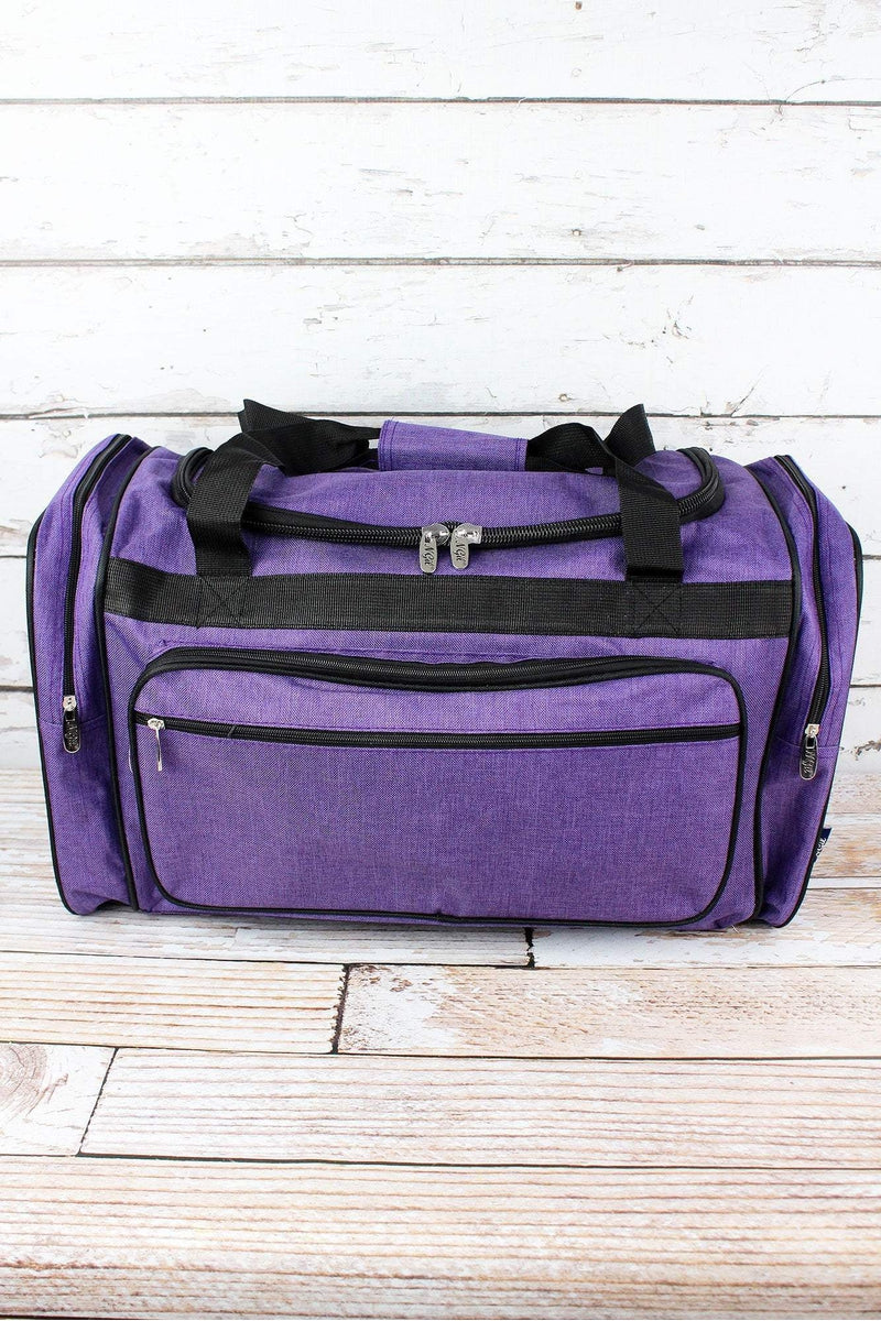 Amethyst Purple Crosshatch Duffle Bag with Black Trim 23""