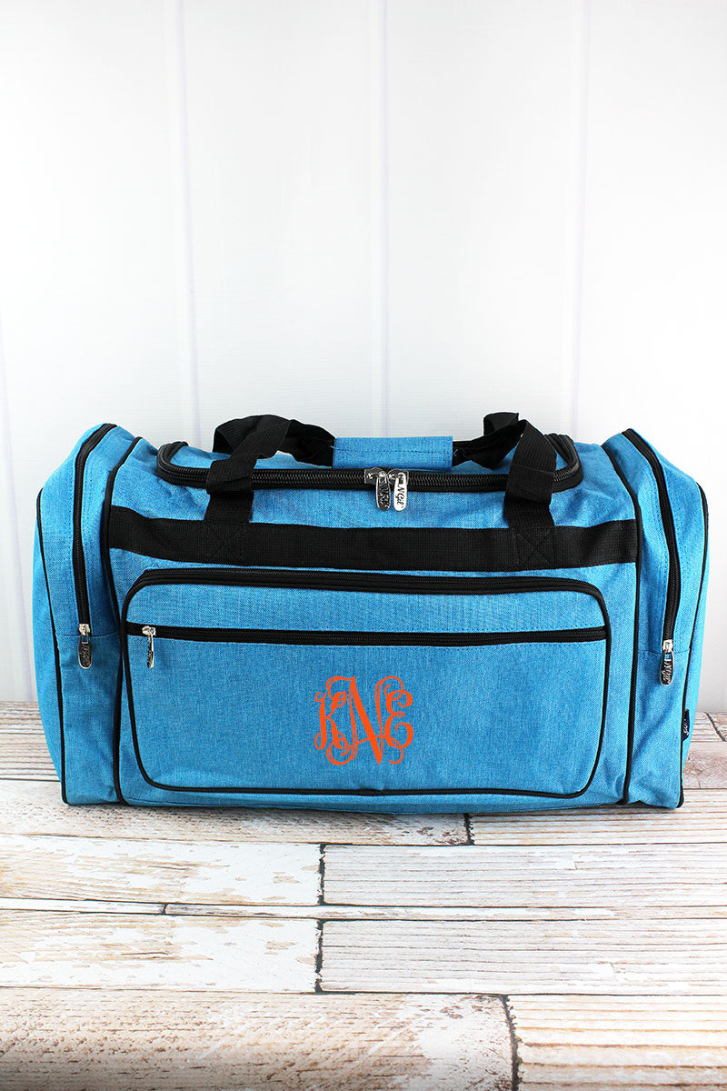 NGIL Turquoise Sea Blue Crosshatch Duffle Bag with Gray Trim 23""