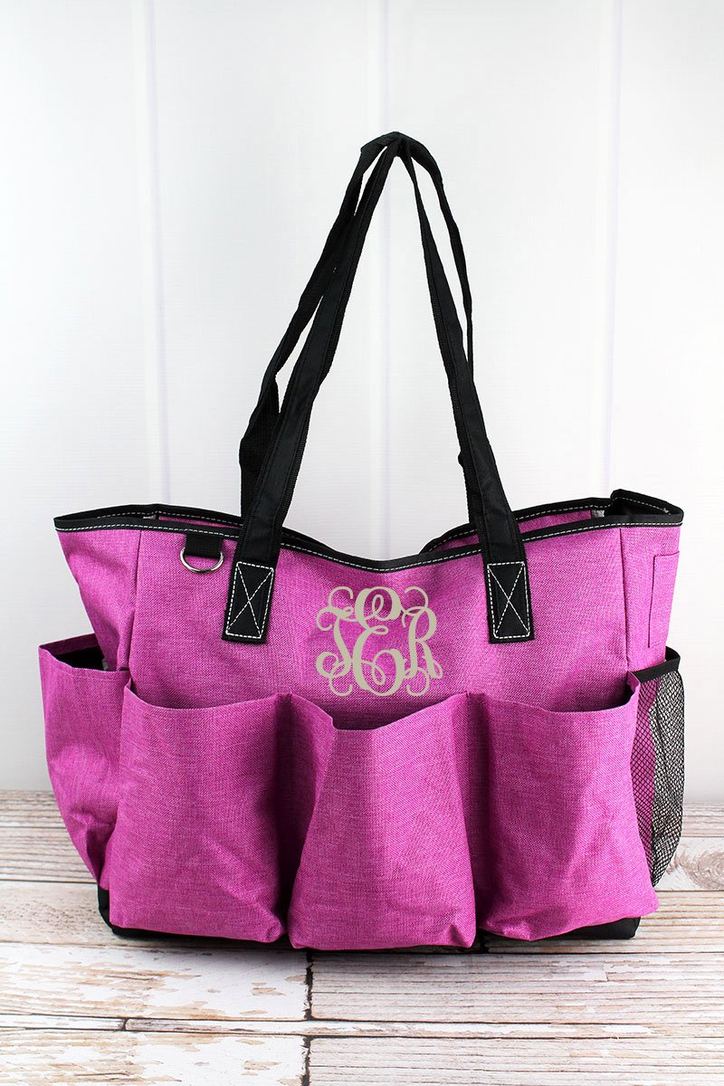 NGIL Fuchsia Rose Crosshatch Large Organizer Tote