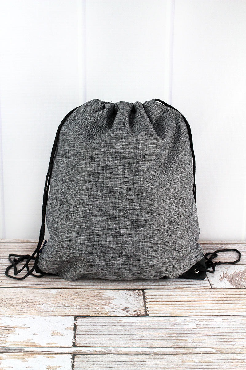 NGIL Steel Gray Crosshatch Drawstring Backpack