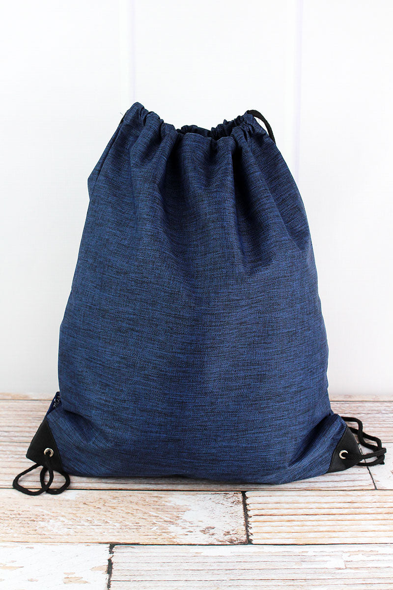 NGIL Midnight Navy Crosshatch Drawstring Backpack