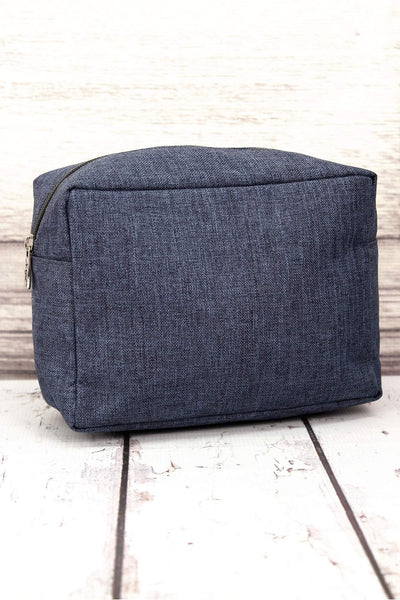 NGIL Denim Blue Crosshatch Cosmetic Case