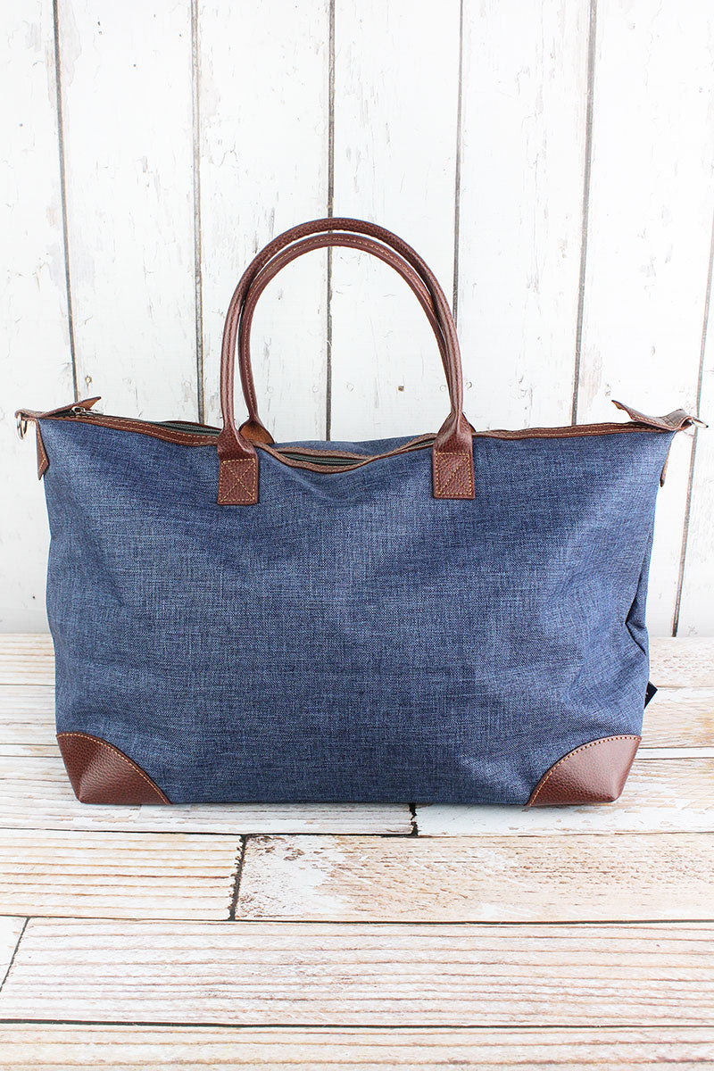 NGIL Denim Blue Crosshatch Large Tote Bag