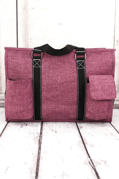 NGIL Black Cherry Crosshatch Utility Tote with Black Trim