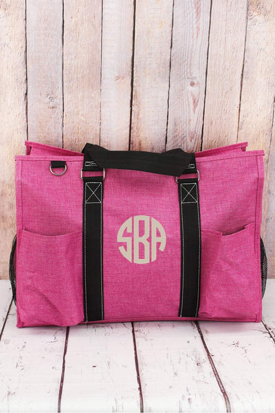 NGIL Fuchsia Rose Crosshatch Utility Tote with Black Trim