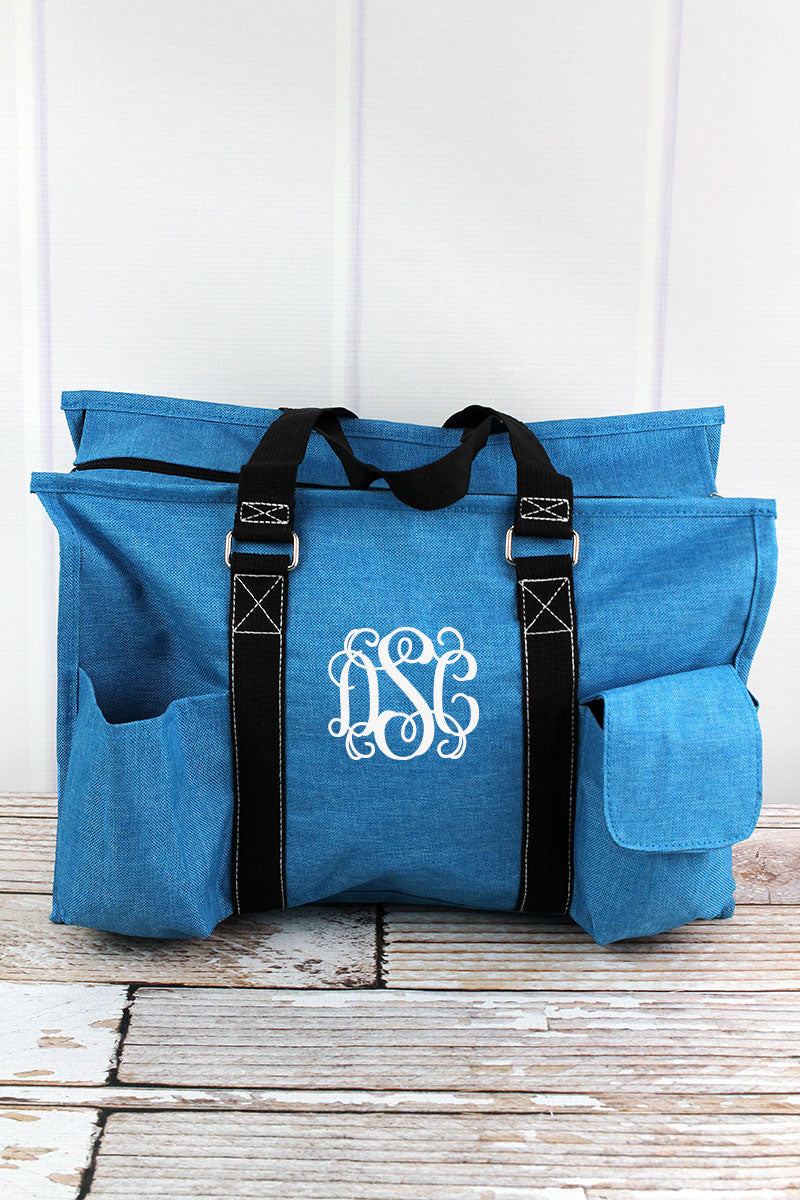 Turquoise Sea Blue Crosshatch Utility Tote with Black Trim