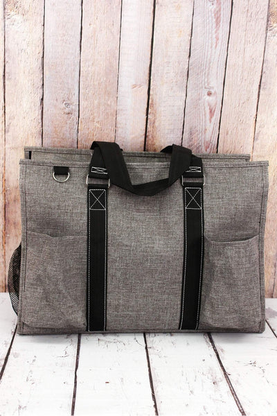NGIL Steel Gray Crosshatch with Black Trim Large Organizer Tote