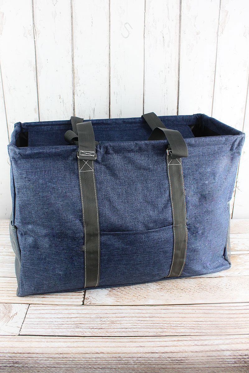 NGIL Denim Blue Crosshatch Collapsible Double Haul-It-All Basket with Mesh Pockets and Lid