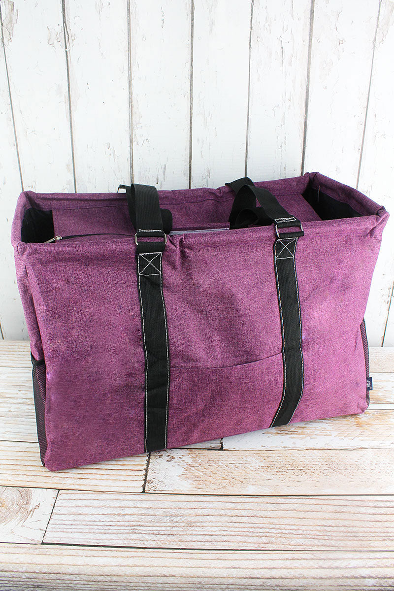NGIL Black Cherry Crosshatch Collapsible Double Haul-It-All Basket with Mesh Pockets and Lid