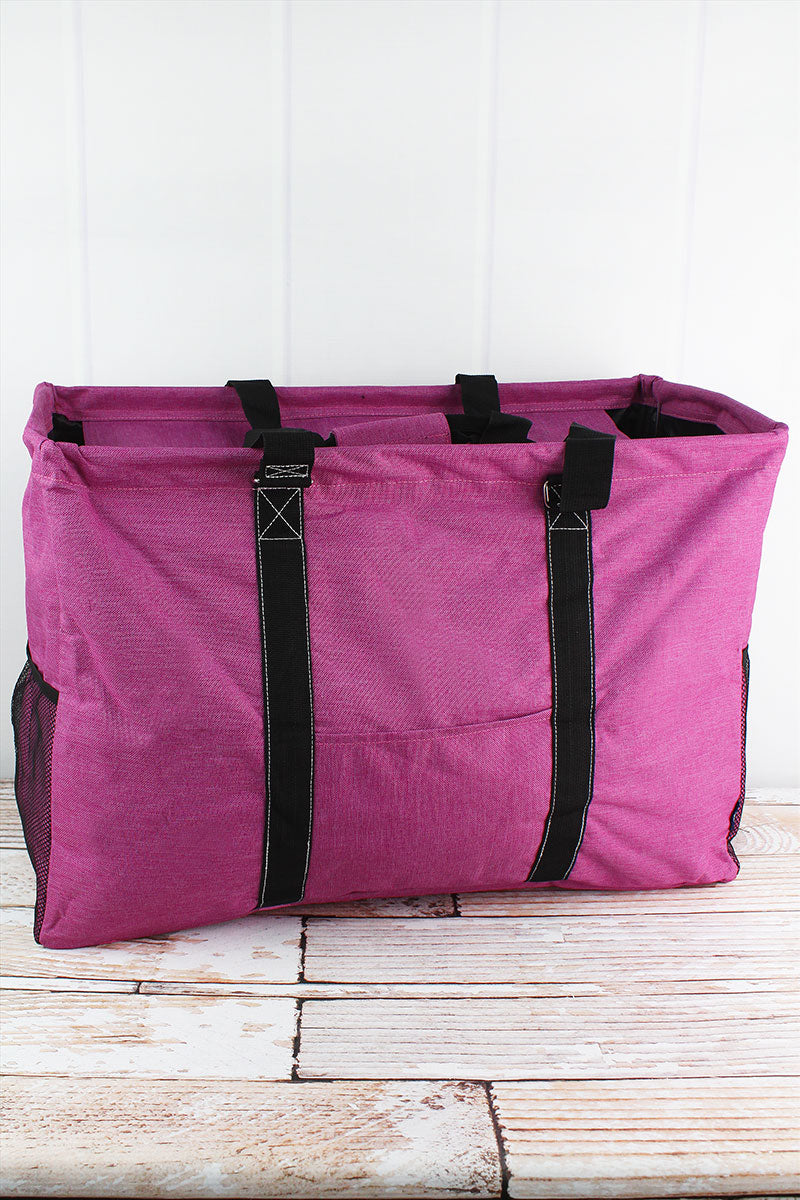 NGIL Fuchsia Rose Crosshatch Collapsible Double Haul-It-All Basket with Mesh Pockets and Lid