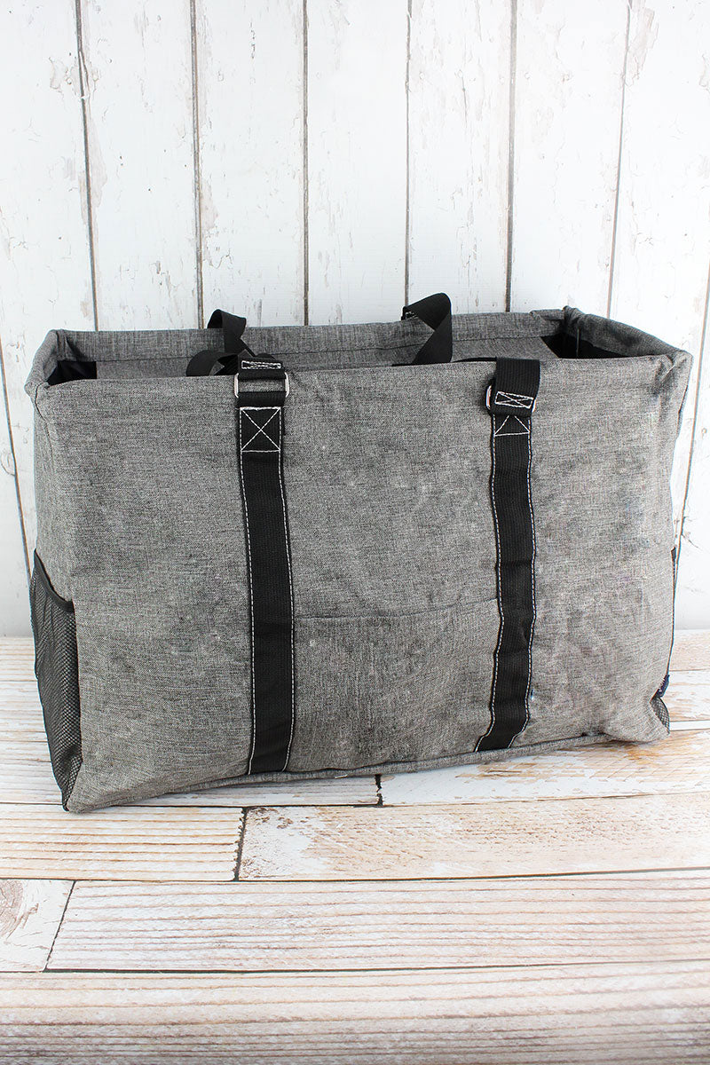 NGIL Steel Gray Crosshatch Collapsible Double Haul-It-All Basket with Mesh Pockets and Lid