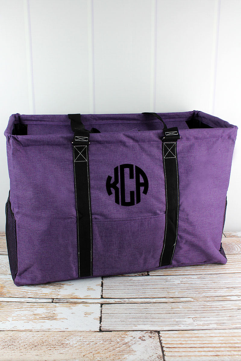 NGIL Amethyst Purple Crosshatch Collapsible Double Haul-It-All Basket with Mesh Pockets and Lid