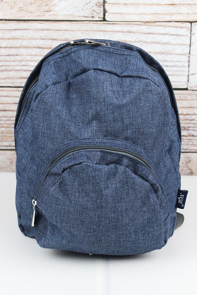 Denim Blue Crosshatch Small Backpack