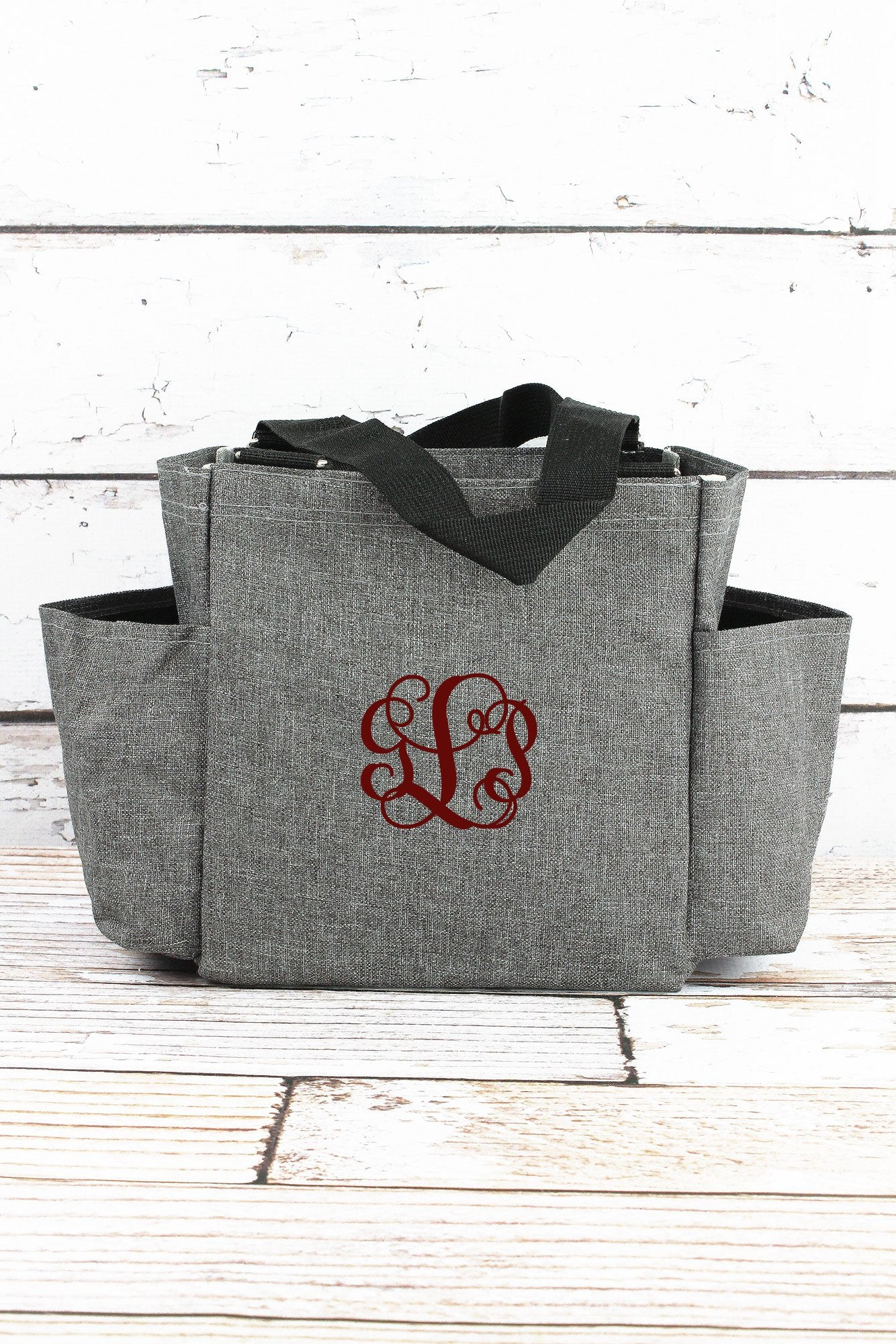 Steel Gray Crosshatch Organizer Tote