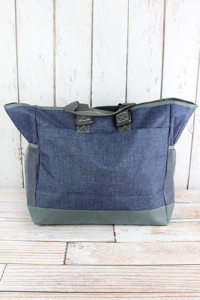 NGIL Denim Blue Crosshatch Everyday Organizer Tote