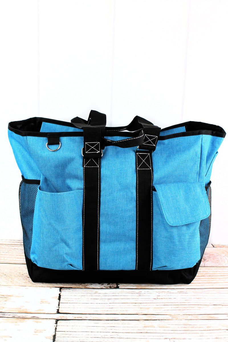 NGIL Turquoise Sea Blue Crosshatch Everyday Organizer Tote