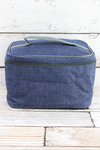 SALE! NGIL Denim Blue Crosshatch Train Case