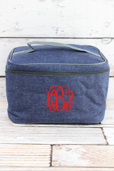 NGIL Denim Blue Crosshatch Train Case