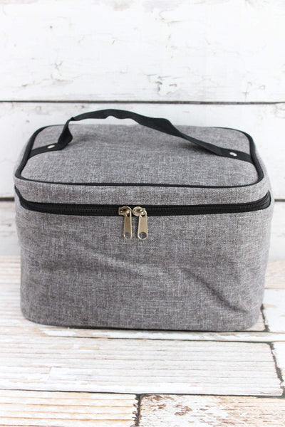 NGIL Steel Gray Crosshatch Train Case