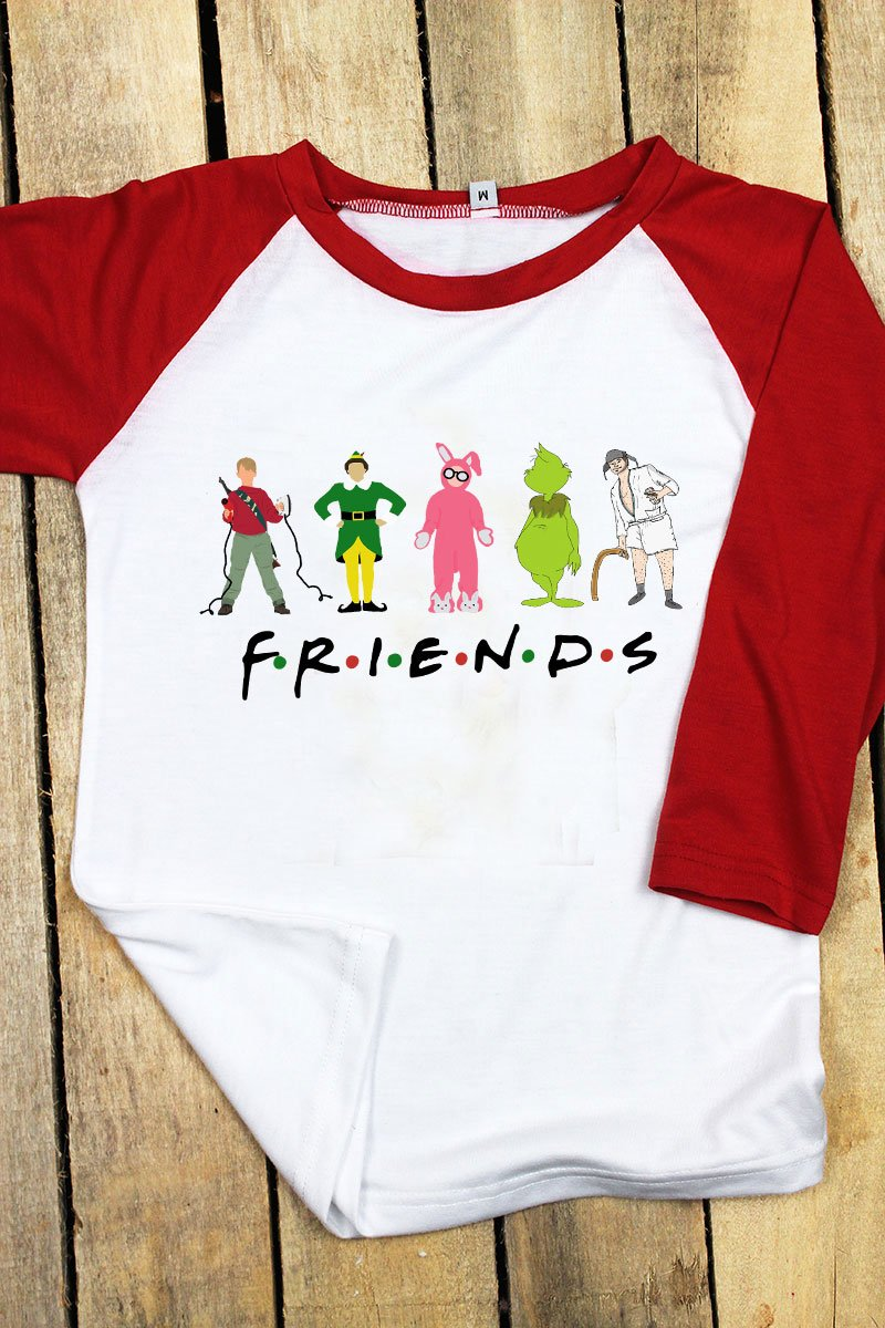 Friends Christmas Kid's 3/4 Sleeve Raglan Tee